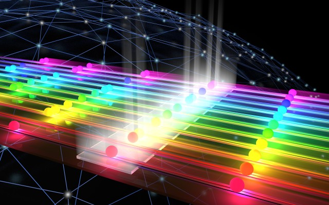 The graphic visualises quantum mechanical interference, also called the Hong-Ou-Mandel effect.